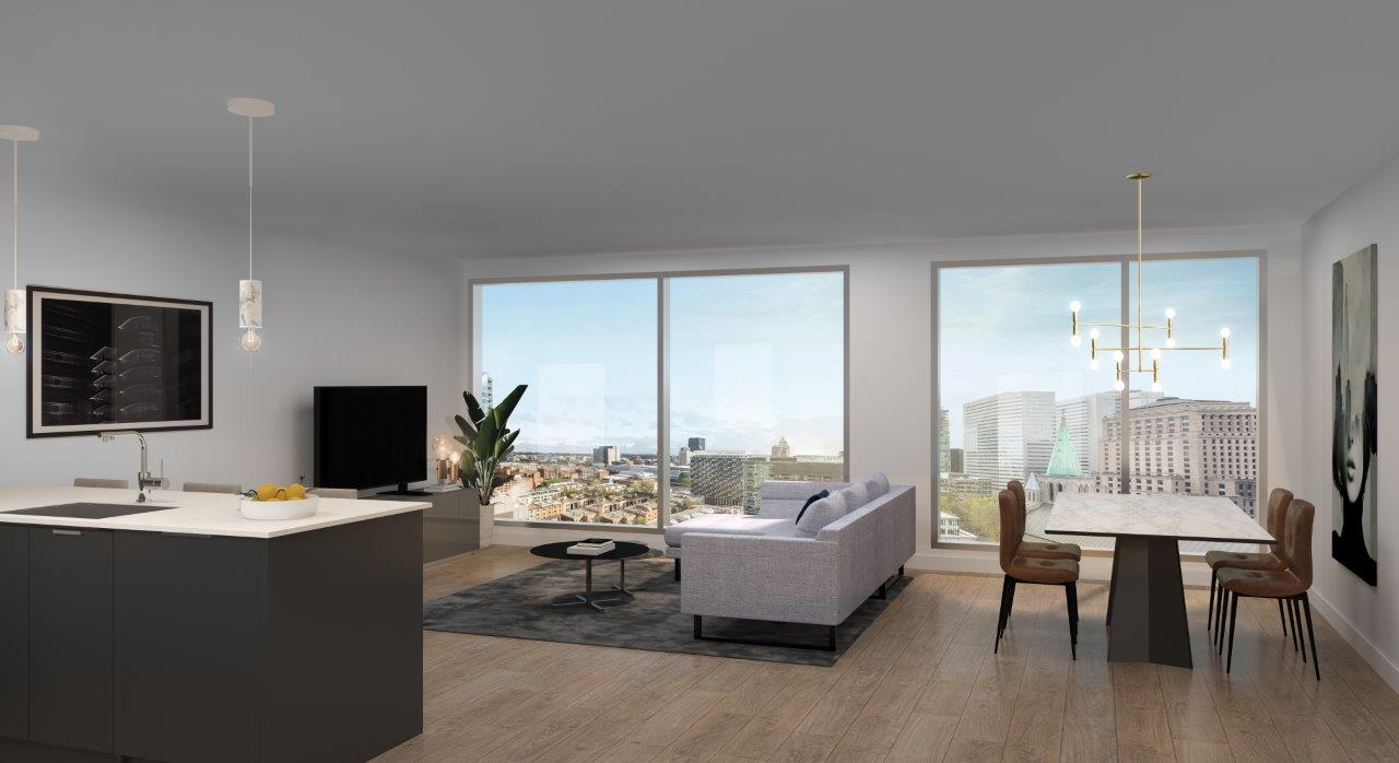 Two Bedroom Residence Living Room with City Views
